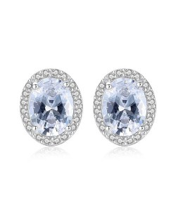 Elegant Rhinestone Rimmed Oval Shape AAA Level Cubic Zirconia 925 Sterling Silver Stud Earrings