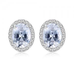 Elegant Rhinestone Rimmed Oval Shape AAA Level Cubic Zirconia 925 Sterling Silver Stud Earrings