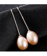 3 Colors Available Natural Pearl Pendant Graceful Design 925 Sterling Silver Stud Earrings