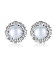 3 Colors Available Rhinestone Rimmed Natural Pearl Inlaid Round Shape 925 Sterling Silver Stud Earrings