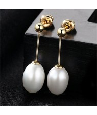 3 Colors Available Waterdrop Shape Natural Pearl Pendant Design Golden Plated 925 Sterling Silver Stud Earrings