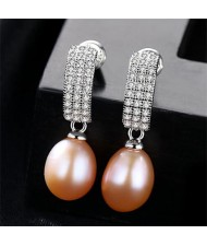 Starry Rhinestone with Dangling Pearl Design 925 Sterling Silver Stud Earrings