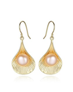 2 Colors Available Pearl in the Shell Design 925 Sterling Silver Ear Clips