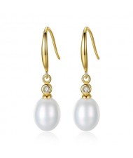 3 Colors Available Dangling Pearl 18k Gold Plating 925 Sterling Silver Ear Clips