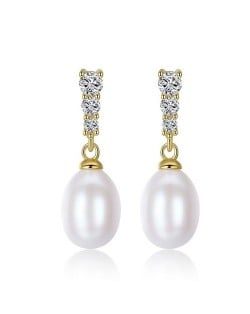 Triple Rhinestones Embellished Dangling Natural Pearl Gold Plating 925 Sterling Silver Stud Earrings