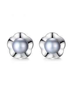 2 Colors Available Natural Pearl Inlaid Flower Design 925 Sterling Silver Stud Earrings