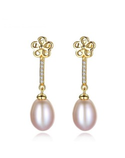 18k Gold Plated Flower and Dangling Pearl Design 925 Sterling Silver Stud Earrings