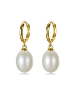3 Colors Available 18k Gold Plated Natural Pearl 925 Sterling Silver Stud Earrings