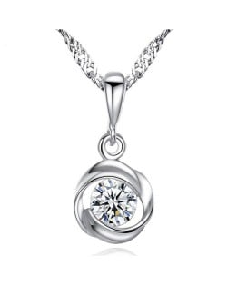 AAA Level Cubic Zirconia Inlaid Spiral Design 925 Sterling Silver Necklace
