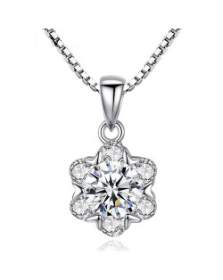 Glistening Cubic Zirconia Snowflake Pendant 925 Sterling Silver Necklace