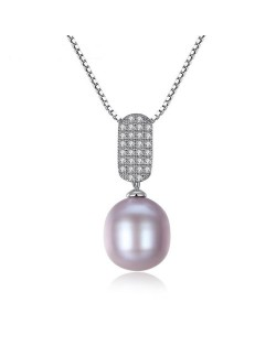 3 Colors Available Rhinestone Embellished Pendant and Natural Pearl 925 Sterling Silver Necklace