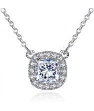 AAA Level Cubic Zirconia Inlaid Graceful Square Pendant 925 Sterling Silver Necklace