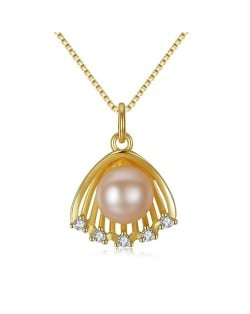 Natural Pearl Inlaid Golden Seashell Pendant 18k Gold Plated 925 Sterling Silver Necklace