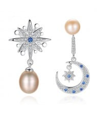 Star and Moon Asymmetric Design Natural Pearl 925 Sterling Silver Earrings