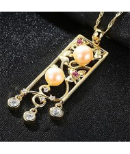 Pearl and Cubic Zirconia Embellished Hollow Vintage Flower Bar Gold Plated 925 Sterling Silver Necklace