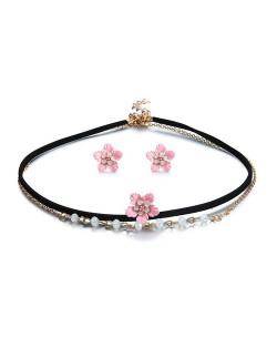Alloy Pink Flower Design Dual Layers Choker Fashion Necklace and Earrings Set