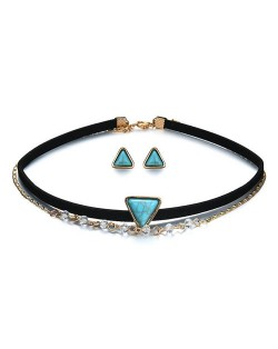 Triangular Artificial Turquoise Inlaid Dual Layers Choker Fashion Necklace and Earrings Set
