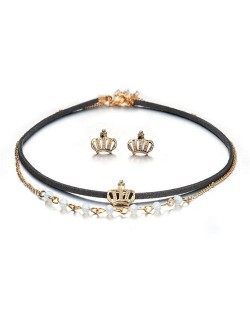 Royal Crown Design Dual Layers Choker Fashion Necklace and Earrings Set