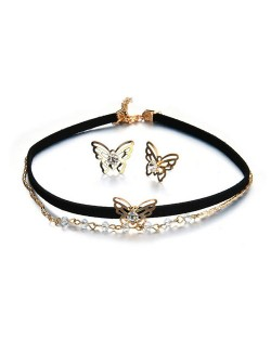 Hollow Butterfly Design Dual Layers Choker Fashion Necklace and Earrings Set
