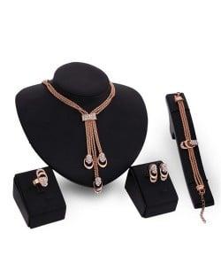 Glistening Rhinestone Tassel Fashion 4pcs Golden Costume Jewelry Set