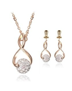 Shining Rhinestone Ball Pendant Design Golden Costume Necklace and Earrings Set