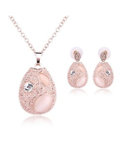 Opal and Rhinestone Inlaid Waterdrop Design Fashion Necklace and Earrings Set