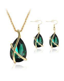 Angel Tear Pendant Party Fashion Costume Necklace and Earrings Set - Green