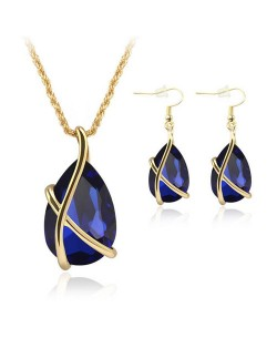 Angel Tear Pendant Party Fashion Costume Necklace and Earrings Set - Royal Blue