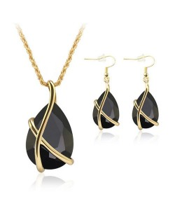 Angel Tear Pendant Party Fashion Costume Necklace and Earrings Set - Black