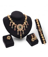 Multicolor Gems Inlaid Vintage Hollow Flower Design 4pcs Golden Fashion Jewelry Set