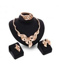 Rhinestone and Crystal Embellished Trumpet Flower 4pcs Golden Jewelry Set