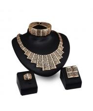 Hollow Vine Design Chunky Fashion 4pcs Golden Jewelry Set