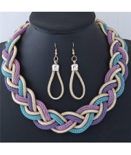 Dough Twist Weaving Style Alloy Costume Necklace and Earrings Set - Purple