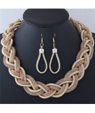 Dough Twist Weaving Style Alloy Costume Necklace and Earrings Set - Khaki