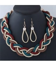 Dough Twist Weaving Style Alloy Costume Necklace and Earrings Set - Red