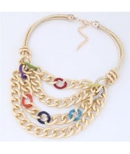 Multi-layer Chunky Chain Design Short Costume Necklace - Multicolor