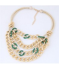 Multi-layer Chunky Chain Design Short Costume Necklace - Green
