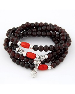 Four-layer Lucky Beads Bracelet - Wine Red
