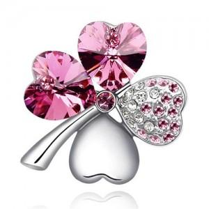 Austrian Crystal and Czech Stones Four Leaf Clover Brooch - Rose