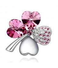 Austrian Crystal and Czech Stones Four Leaf Clover Brooch - Rose
