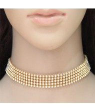 Shining Rhinestone Inlaid Simple Fashion Choker Costume Necklace - Golden