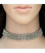 Shining Rhinestone Inlaid Simple Fashion Choker Costume Necklace - Black