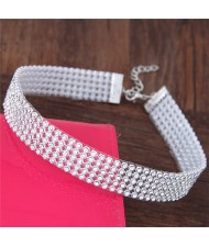 Shining Rhinestone Inlaid Simple Fashion Choker Costume Necklace - Silver