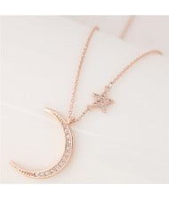 Korean Fashion Graceful Moon and Star Design Costume Necklace - Golden
