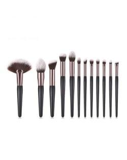 12 pcs Black Wooden Handle Professional Style Fashion Makeup Brushes Set