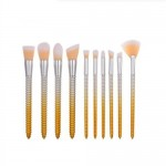 10 pcs Screw Design Handle Fashion Makeup Brushes Set - Yellow