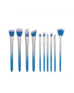 10 pcs Screw Design Handle Fashion Makeup Brushes Set - Blue