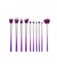 10 pcs Unique Spiral Design Handle Purple Fashion Makeup Brushes Set