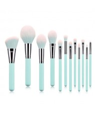 12 pcs Light Blue Wooden Handle High Fashion Makeup Brushes Set
