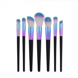 7 pcs Wooden and Metallic Pipe Combo Purple Fashion Makeup Brushes Set